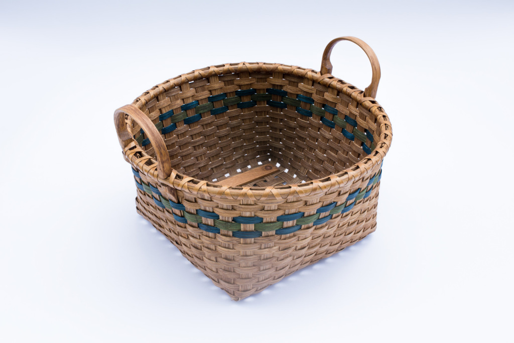"Reed-2. #819– 14"" basket with oak ear handles and runners"