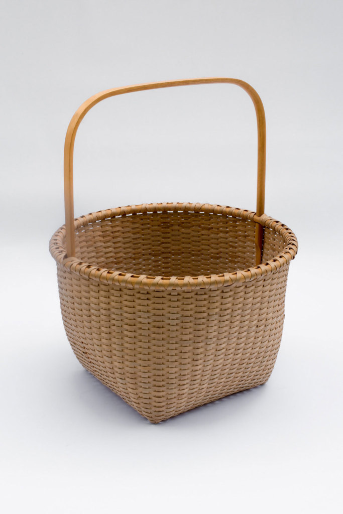 "Shaker-6. #815– 14"" Apple basket with bonnet handle and oak runners"