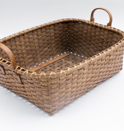 Reed-7. #825– Low utility basket with oak ear handles and runners