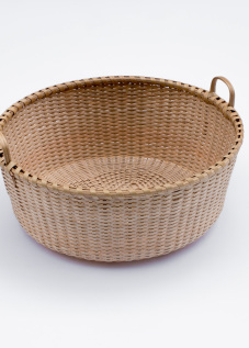 "Shaker-1. #804 9""Quatrefoil tub basket with oak rims and handles"