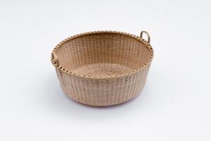 "Shaker-1. #804 9""Quatrefoil tub basket with oak rims and handles"